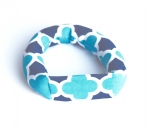 Savvy Curls blue quatrefoil single curling hair wrap